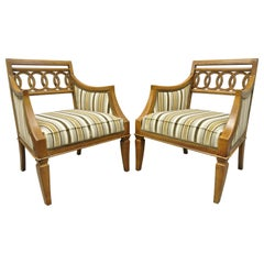 Pair of Hollywood Regency French Style Carved Spiral Back Armchairs