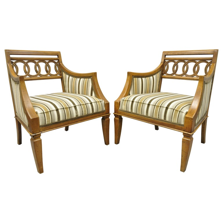 Pair of Hollywood Regency French Style Carved Spiral Back Armchairs For Sale