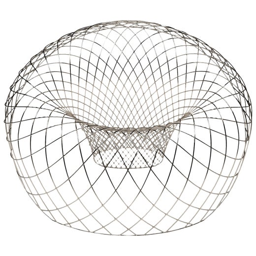 Reverb Wire Chair, Sculptural Stainless Steel Wireframe Chair by Brodie Neill