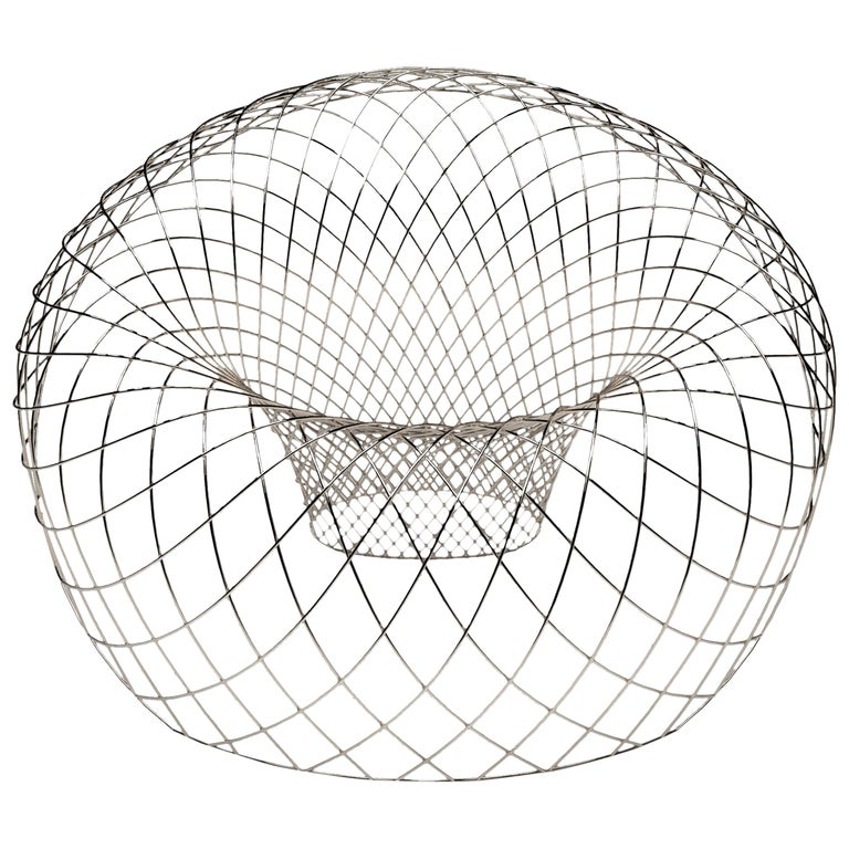 Reverb Wire Chair, Sculptural Stainless Steel Wireframe Chair by Brodie Neill 1