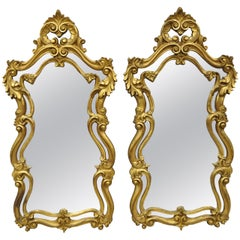 Pair of French Rococo Style Gold Wall Mirrors with Fancy Scroll Work