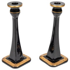 19th Century Black Glass Candlesticks with Gold Floral Decoration at Base