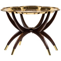 Midcentury Spider Leg Folding Tray Table with Brass Tray