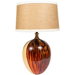 Midcentury Ceramic Lamp in Drip Glaze in Browns and Orange with Custom Shade