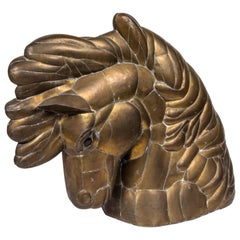 Horse Head Sculpture in Pieced Brass