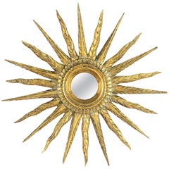 Unusual Early 20th Century Spanish Giltwood Small Starburst Sunburst Mirror
