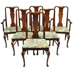 6 Vintage Thomasville Queen Anne Style Solid Cherrywood Dining Chairs
