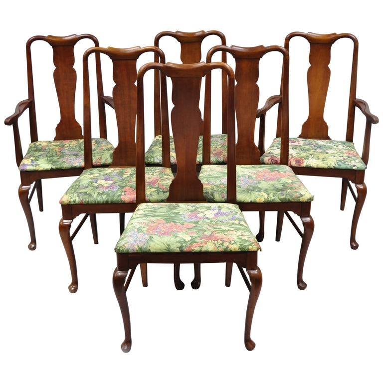 Thomasville Cherry Dining Room Set: 6 Vintage Thomasville Queen Anne Style Solid Cherrywood