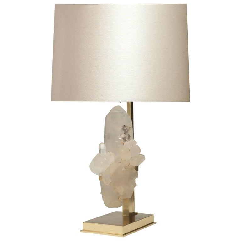 Natural Rock Crystal Sculpture Lamp For Sale
