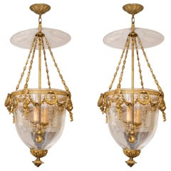 Pair of Superb French Louis XVI Style Gilt Bronze Mounted Glass Lanterns