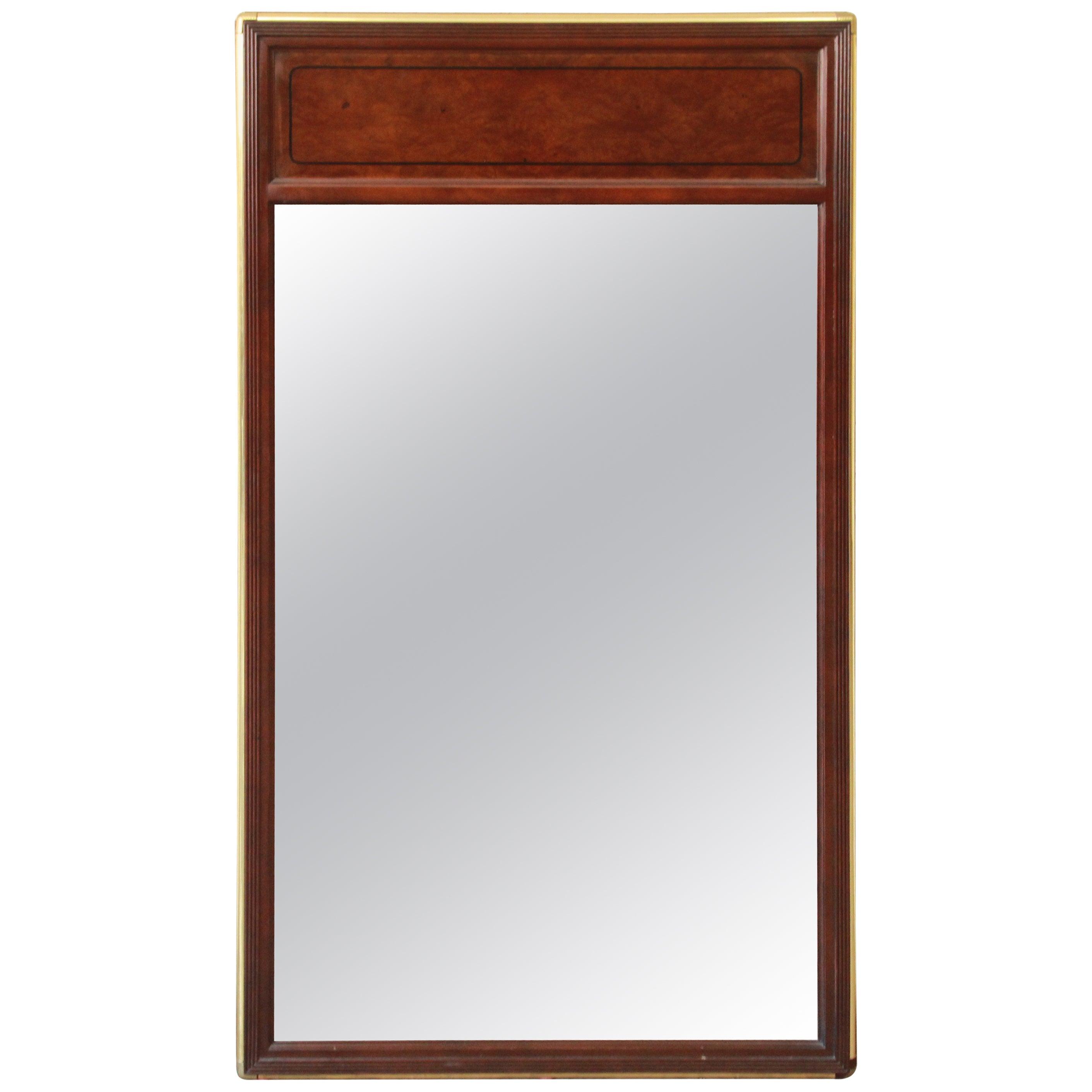 Baker Furniture Hollywood Regency Campaign Burl Wood and Brass Framed Mirror