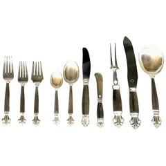 Near Complete Georg Jensen Sterling Silver Flatware Service for Twelve