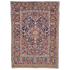 Distressed Vintage Persian Mahal Rug with Luxe Traditional Adirondack Style
