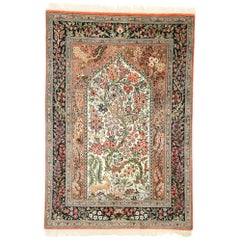 Vintage Persian Tree of Life Qum Silk Prayer Rug with French Rococo Style