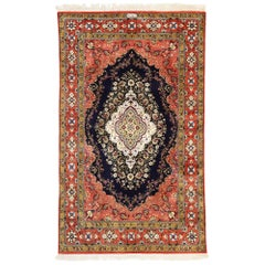 Vintage Persian Silk Qum Rug with Panel Inscription, French Rococo Style