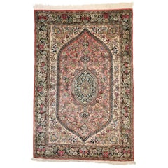 Vintage Persian Tree of Life Qum Silk Rug with French Rococo Style