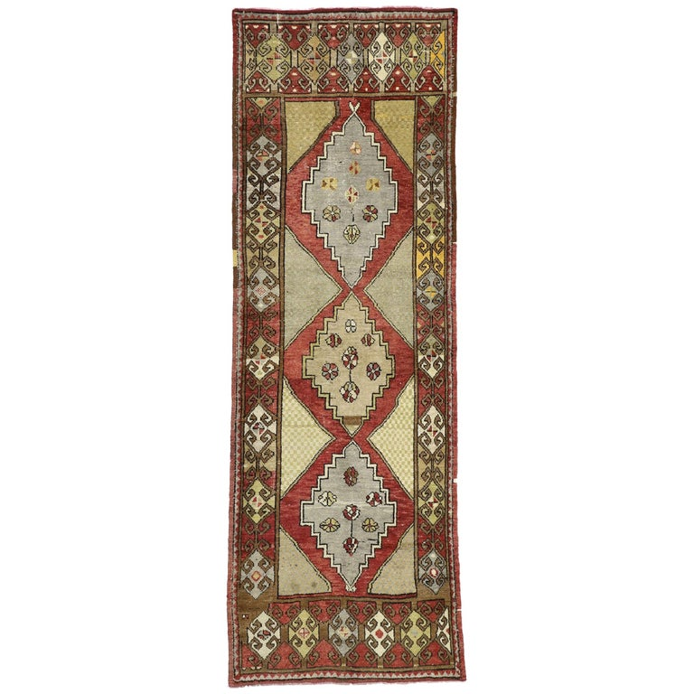 Vintage Turkish Oushak Hallway Runner with Craftsman Tribal Style For Sale