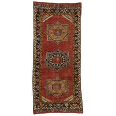 Vintage Turkish Oushak Hallway Runner with Craftsman Tribal Style