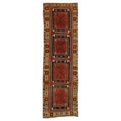 Vintage Turkish Oushak Hallway Runner with Tribal Mission Style