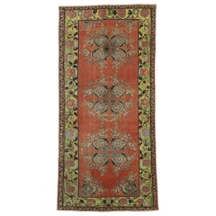 Vintage Turkish Oushak Wide Hallway Runner with Art Deco Expressionist Style