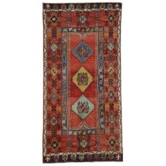 Vintage Turkish Oushak Rug with Jacobean Style and Tribal Design
