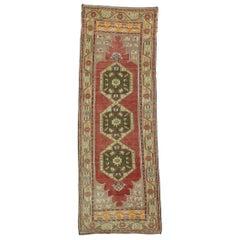 Vintage Turkish Oushak Hallway Runner with Rustic Style