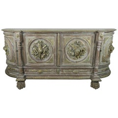 19th century French Carved Painted and Parcel-Gilt Buffet