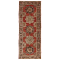 Vintage Turkish Oushak Runner with Jacobean Style, Wide Hallway Runner
