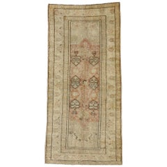 Vintage Turkish Oushak Rug with Rustic Industrial Style, Short Hallway Runner