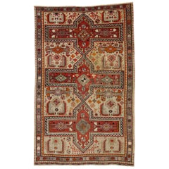 Vintage Turkish Oushak Rug with Jacobean Style, Kitchen, Foyer or Entry Rug