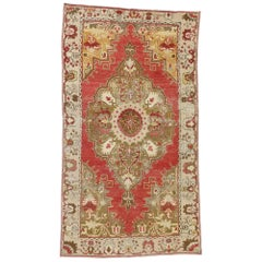 Rustic Rococo Style Distressed Vintage Turkish Oushak Rug, Entry or Foyer Rug