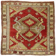Vintage Turkish Oushak Rug with Baroque Style, Small Square Accent Rug