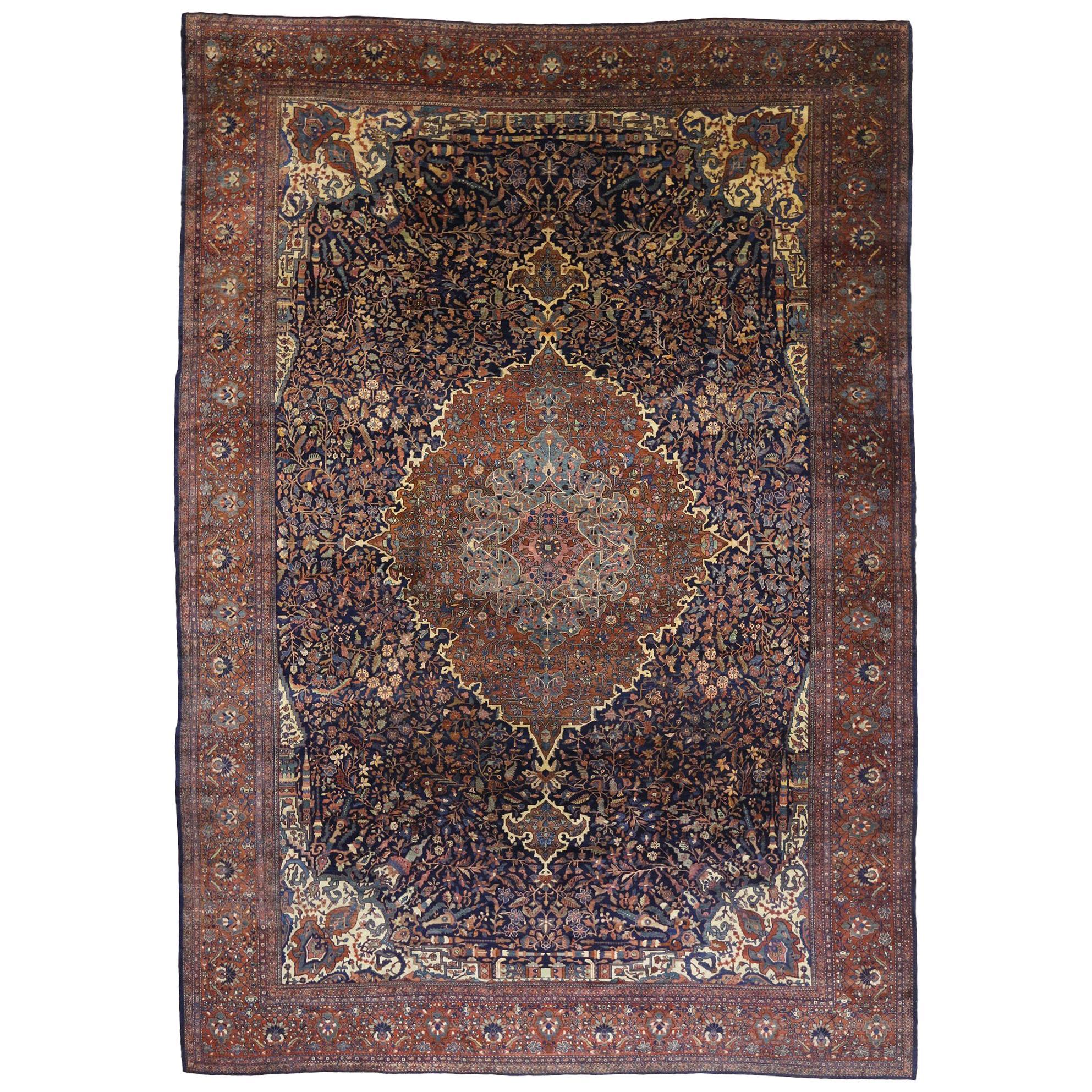 Antique Persian Sarouk Farahan Rug, Persian Palace Size Rug