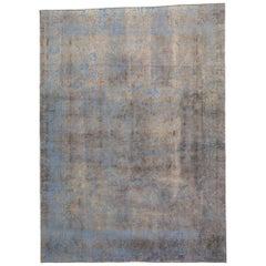 Distressed Vintage Turkish Overdyed Rug with Luxe French Industrial Style