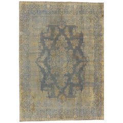 Distressed Vintage Turkish Industrial Rug with Rustic Luxe Gustavian Style