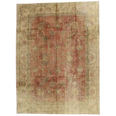 Distressed Antique Persian Tabriz Rug Industrial Rustic Style