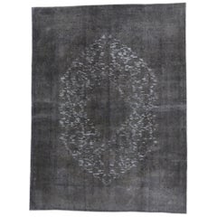 Distressed Vintage Turkish Rug with Modern Industrial Style, Overdyed Gray Rug