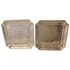 Tane Mexican Sterling Silver Serving Plates Pair Square Hand Engraved
