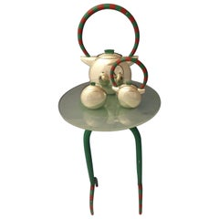 Charles Crowley Sterling Silver Coffee Set with Enamel and Stand Modern Art