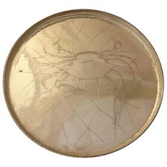 Whiting Sterling Silver Salver Tray with Acid Etched Crab in Net
