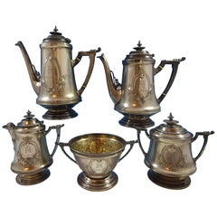 Wood and Hughes Coin Silver Tea Set 5-Piece Civil War Period with 3-D Elements
