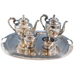 Mexican Sterling Silver Tea Set 4-Piece with Tray