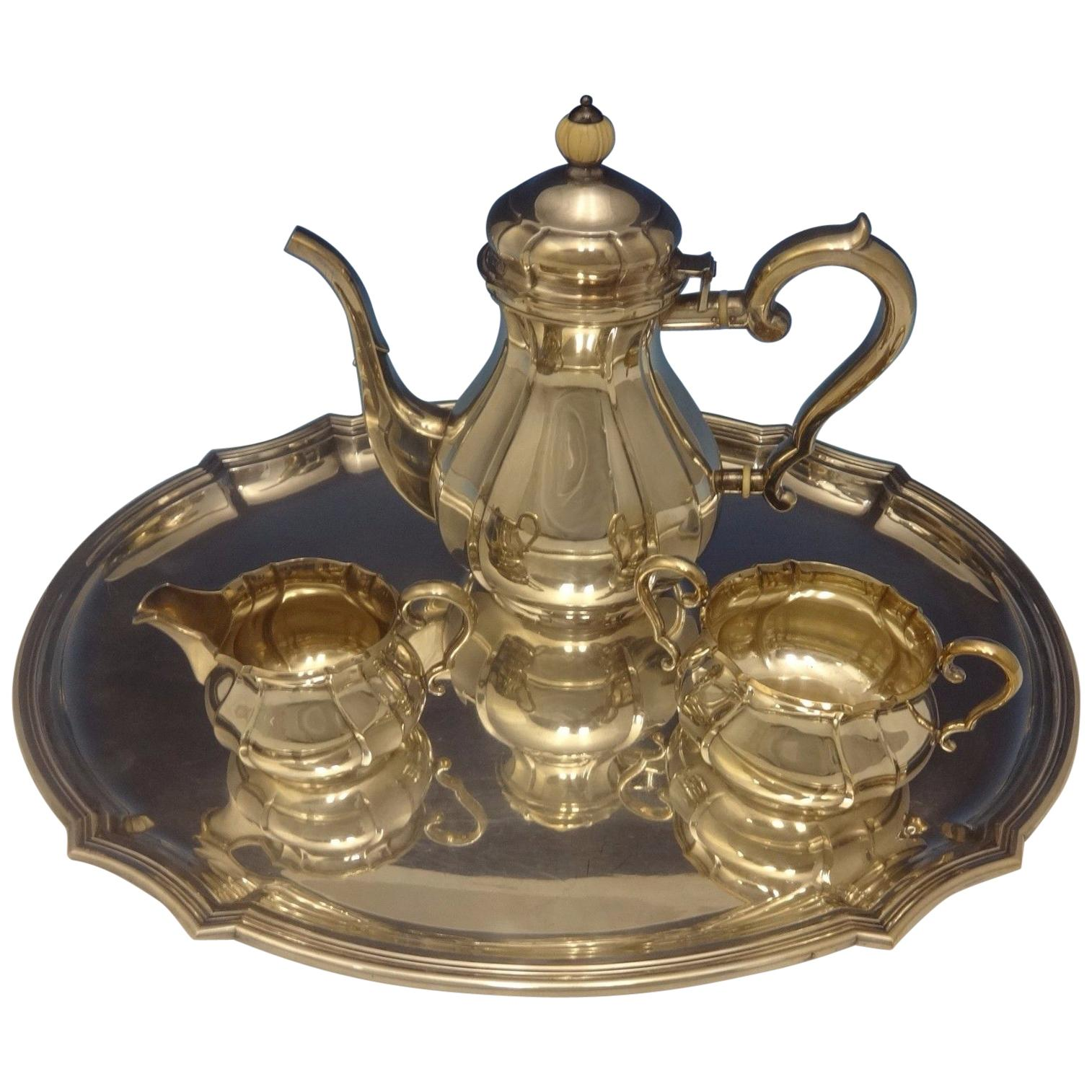 C.C. Hermann Danish Sterling Silver Tea Set of 3 Pieces with Tray