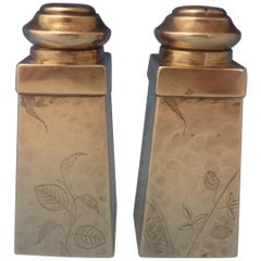 Aesthetic Knowles Sterling Silver Salt and Pepper Shakers Hand-Hammered #0258