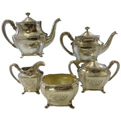 Georgian by Towle Sterling Tea Set of 5-Pc with Columnar Feet and Flower Swag
