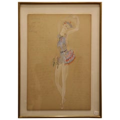 Costume for a Ballerine Dancer by Natalia Gontcharova, Watercolor and Pencil