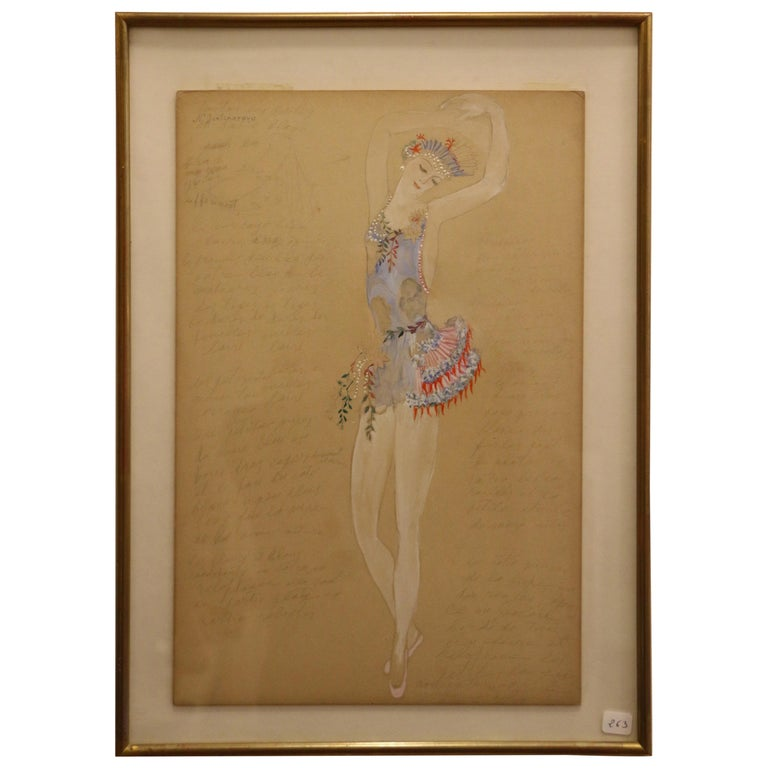 Costume for a Ballerine Dancer by Natalia Gontcharova, Watercolor and Pencil For Sale