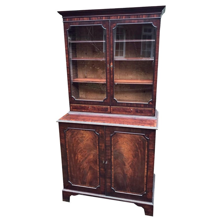 Georgian Mahogany Bookcase and Cupboard For Sale