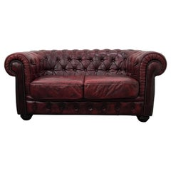 Vintage Oxblood Leather 2-Seater Chesterfield Sofa from Rubelli