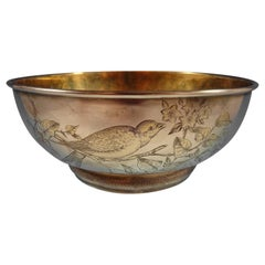 Gorham Sterling Silver Fruit Bowl with Bird and Butterfly #1565
